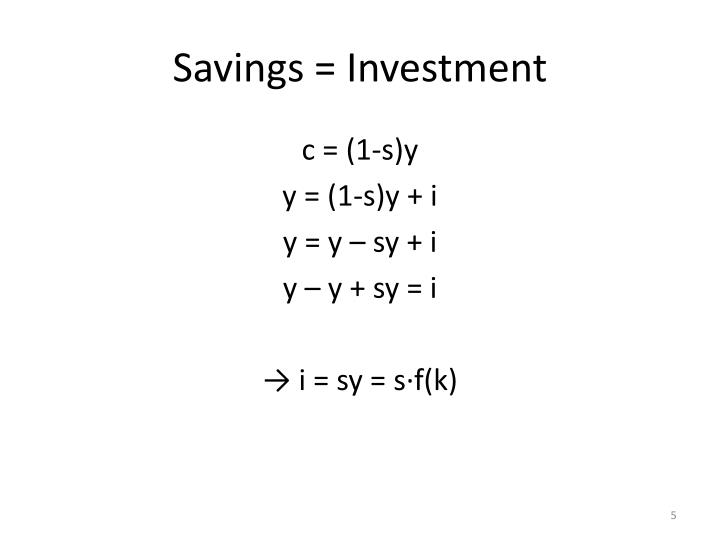 Savings = Investment