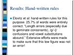 results hand written rules