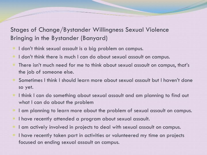 Stages of Change/Bystander Willingness Sexual Violence
