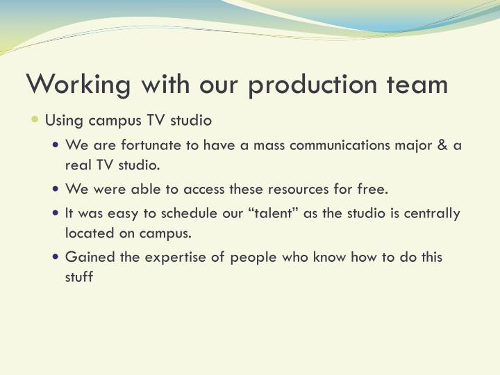 Working with our production team