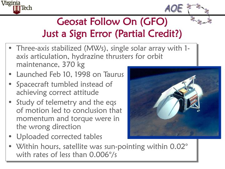 Geosat follow on gfo just a sign error partial credit