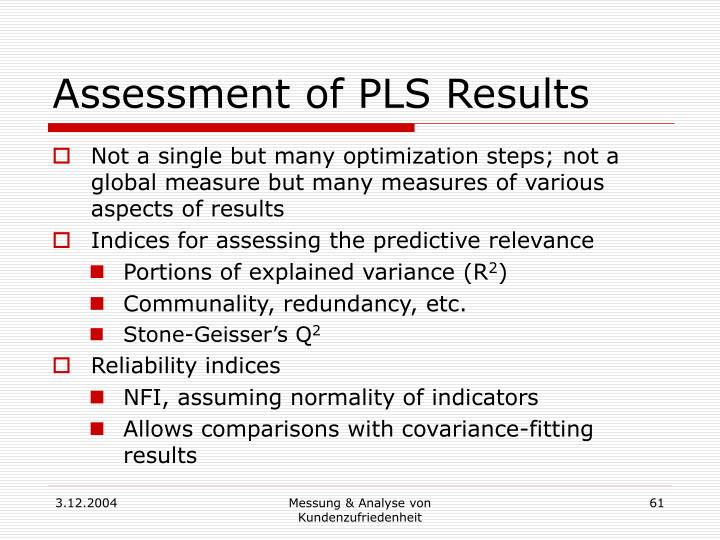 Assessment of PLS Results