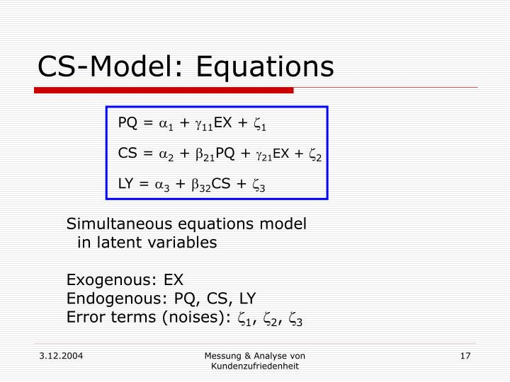 CS-Model: Equations