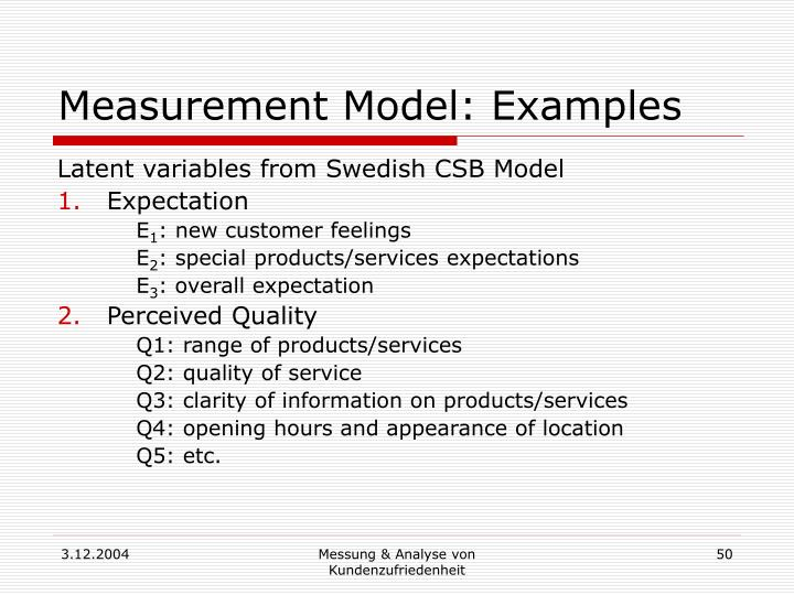 Measurement Model: Examples