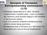 synopsis of tanzanian entreprenuership environment 1 5
