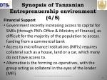synopsis of tanzanian entreprenuership environment 4 5