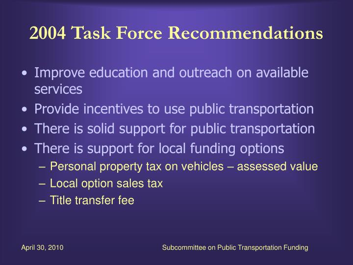 2004 Task Force Recommendations