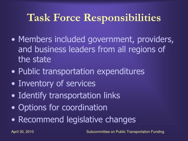 Task force responsibilities