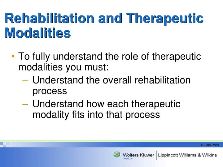 Rehabilitation and Therapeutic Modalities