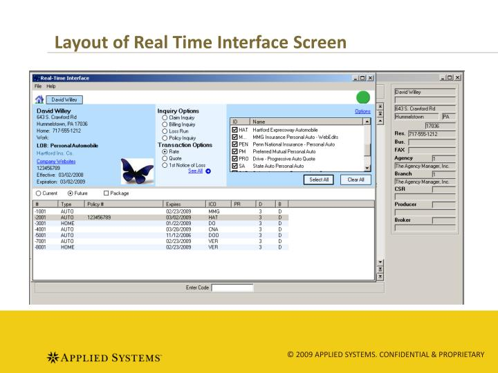 Layout of Real Time Interface Screen