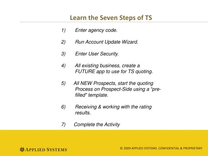 Learn the Seven Steps of TS