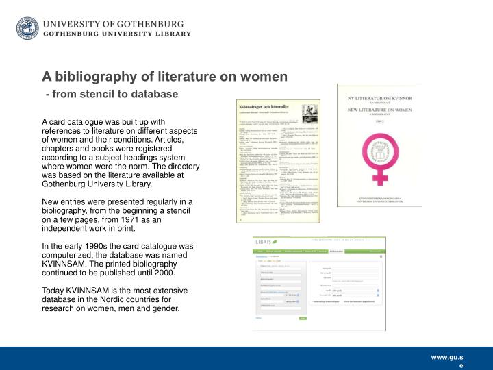 A bibliography of literature on women