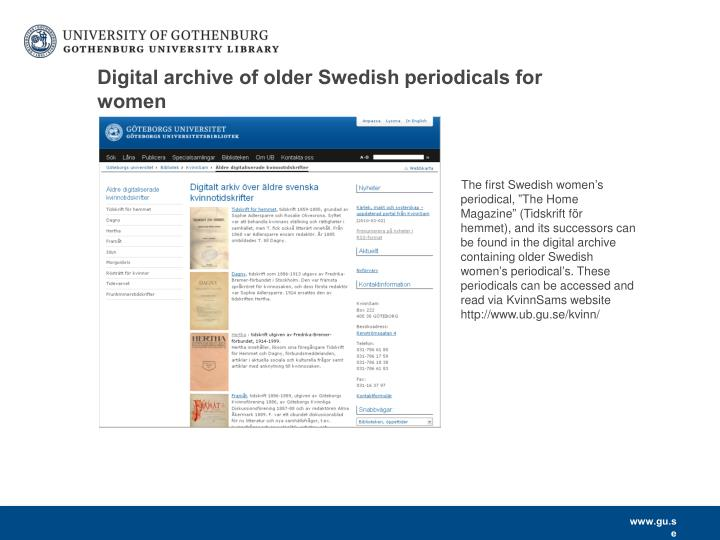 Digital archive of older Swedish periodicals for women