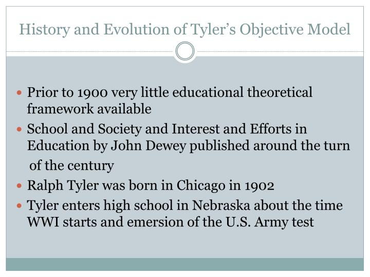 history and evolution of tyler s objective model n.