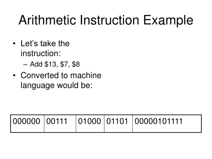 Arithmetic Instruction Example