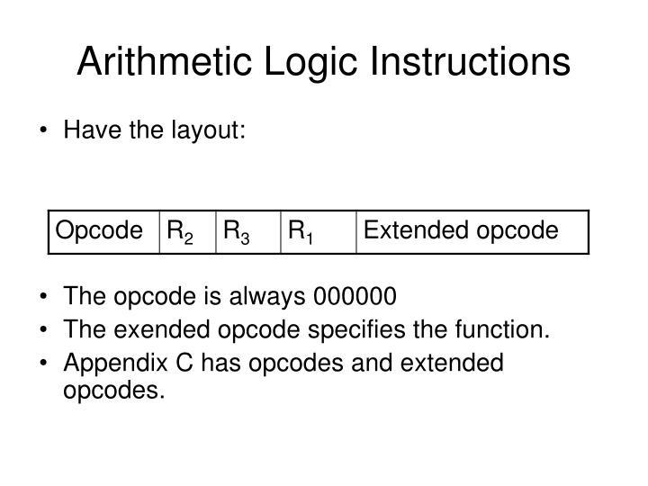 Arithmetic Logic Instructions