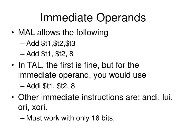 Immediate Operands