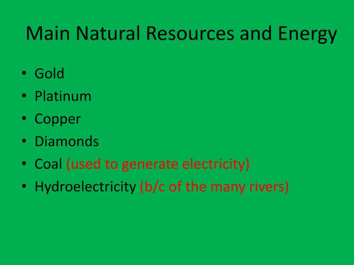 Main Natural Resources and Energy