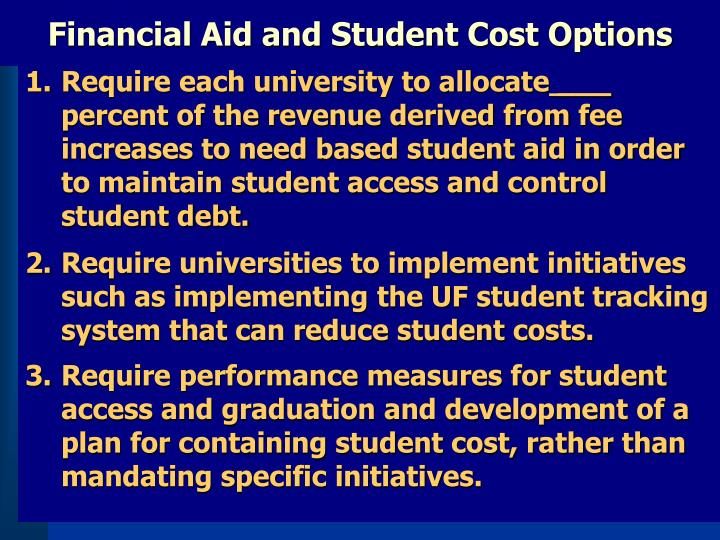 Financial Aid and Student Cost Options