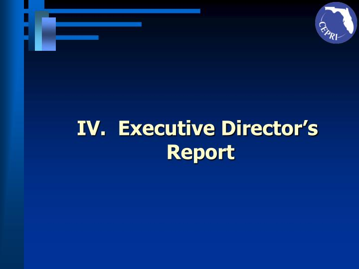IV.  Executive Director's