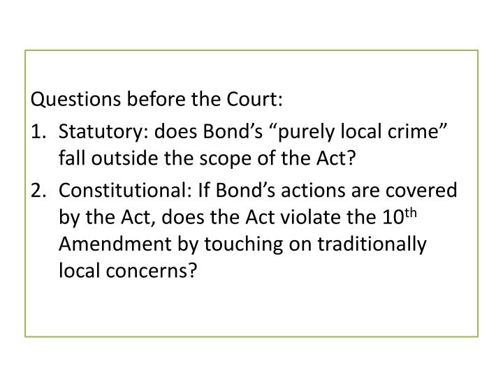 Questions before the Court: