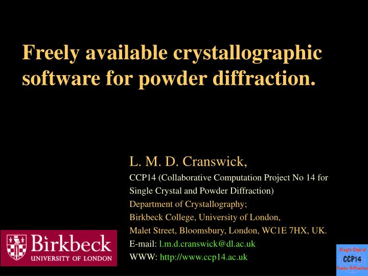 freely available crystallographic software for powder diffraction n.