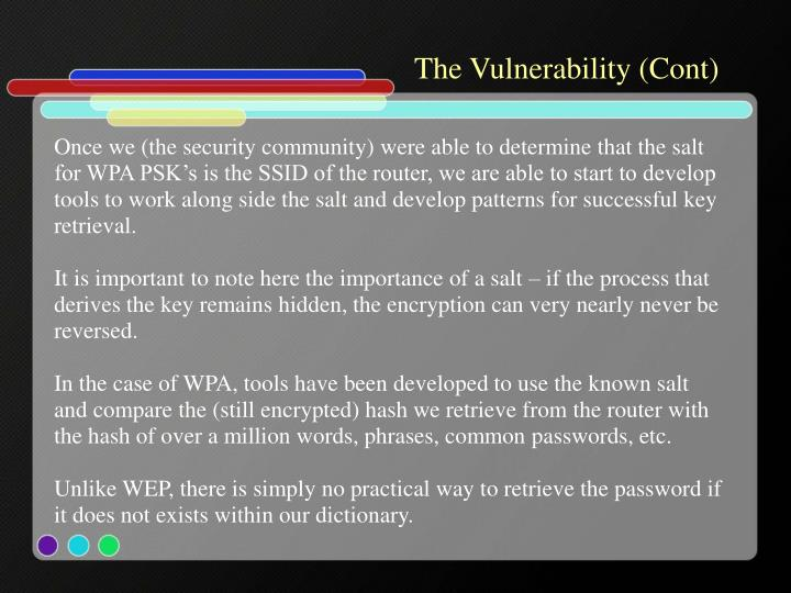 The Vulnerability (Cont)
