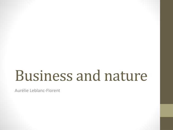 business and nature n.