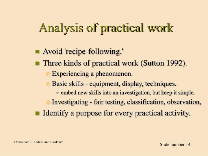 Analysis of practical work
