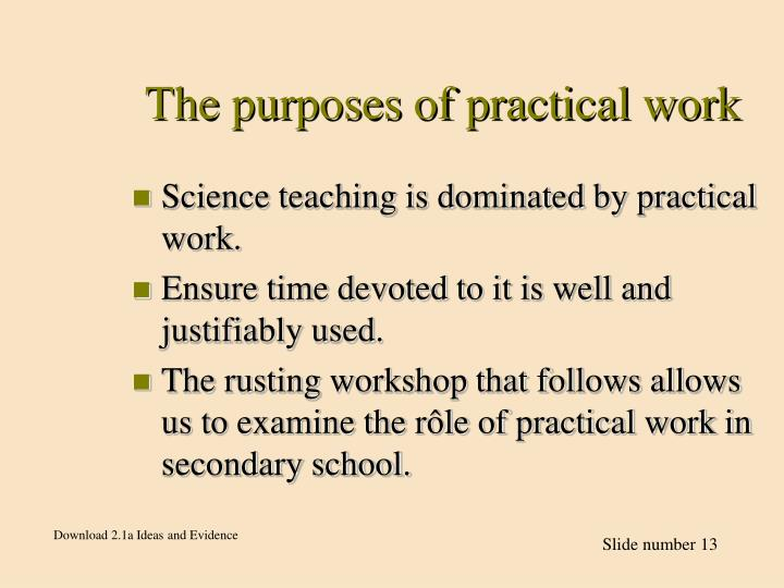The purposes of practical work