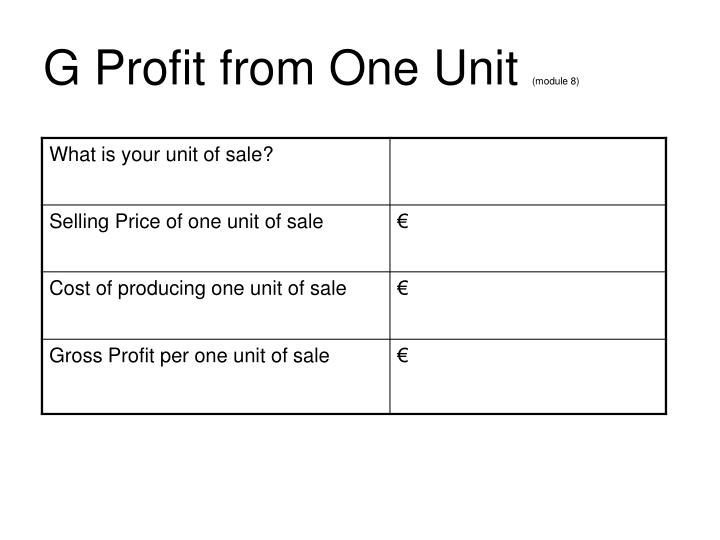 Ppt nfte ireland powerpoint presentation id3025252 g profit from one unit module 8 flashek