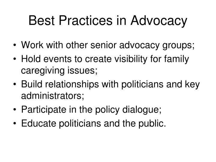 Best Practices in Advocacy