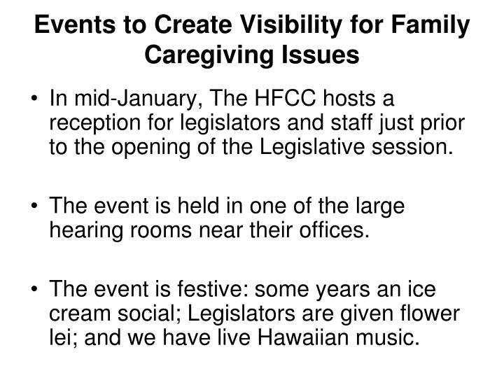 Events to Create Visibility for Family Caregiving Issues