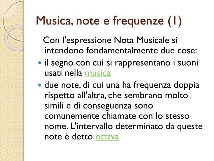 Musica note e frequenze 1