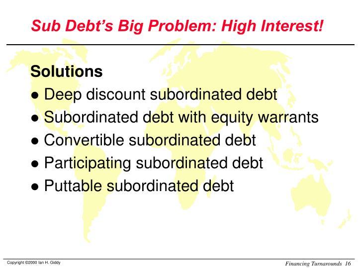 Sub Debt's Big Problem: High Interest!