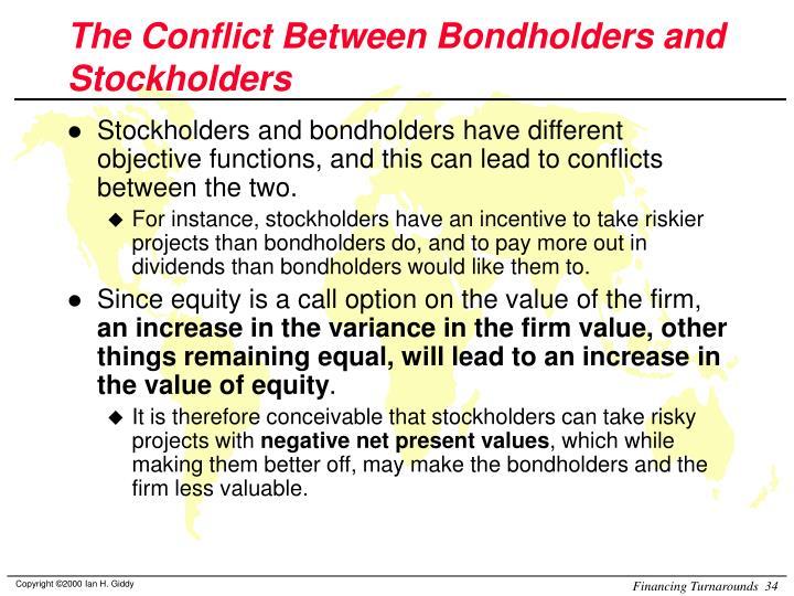 The Conflict Between Bondholders and Stockholders