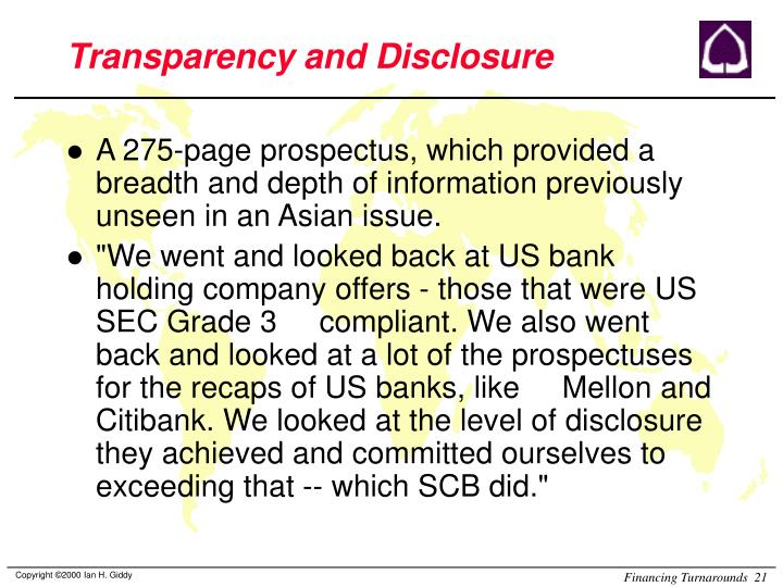 Transparency and Disclosure