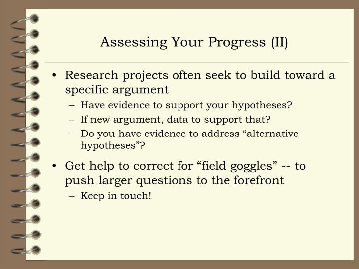 Assessing Your Progress (II)