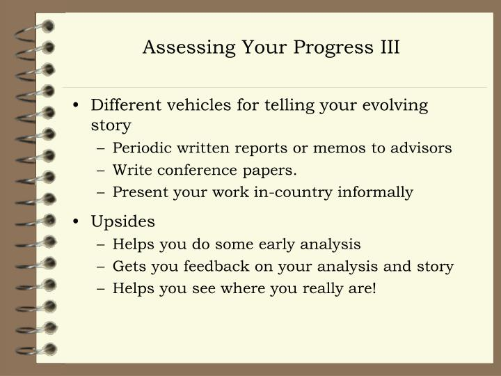 Assessing Your Progress III