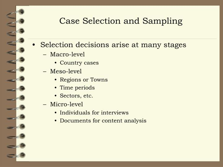 Case Selection and Sampling