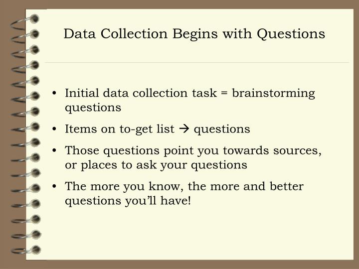 Data Collection Begins with Questions