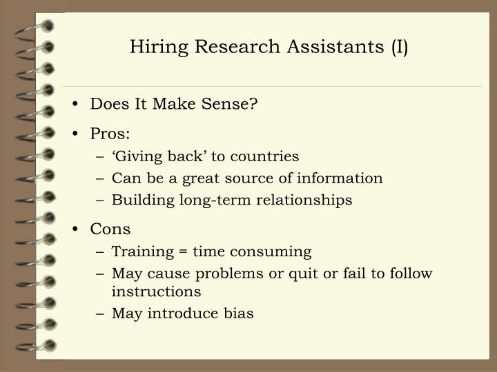 Hiring Research Assistants (I)