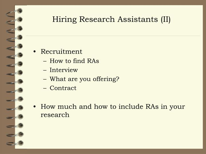 Hiring Research Assistants (II)