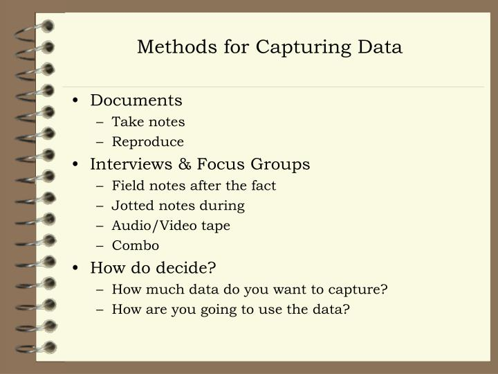 Methods for Capturing Data