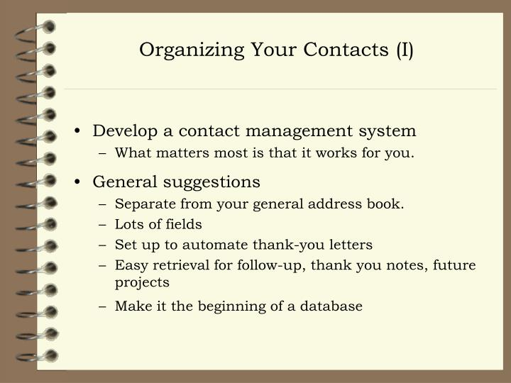 Organizing Your Contacts (I)