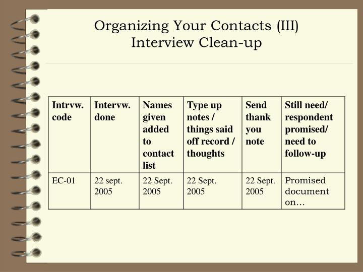 Organizing Your Contacts (III)