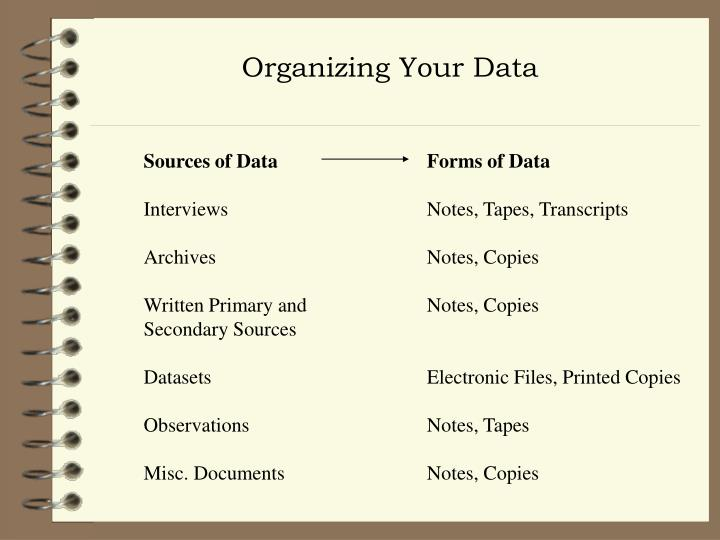 Organizing Your Data