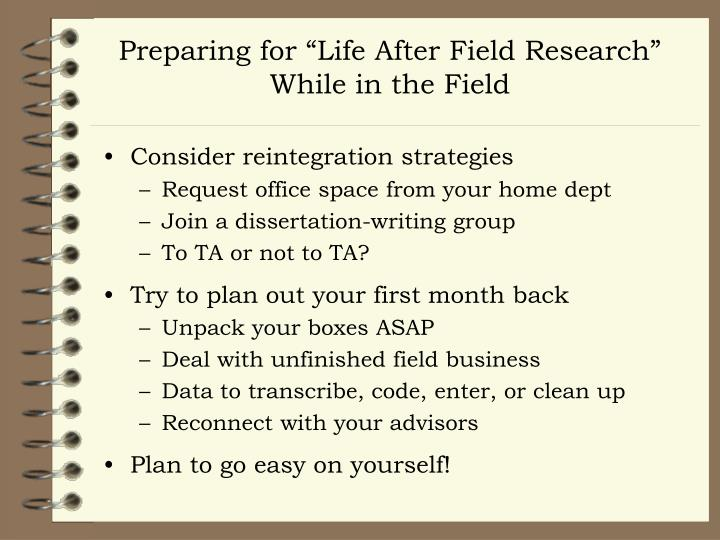 "Preparing for ""Life After Field Research"""