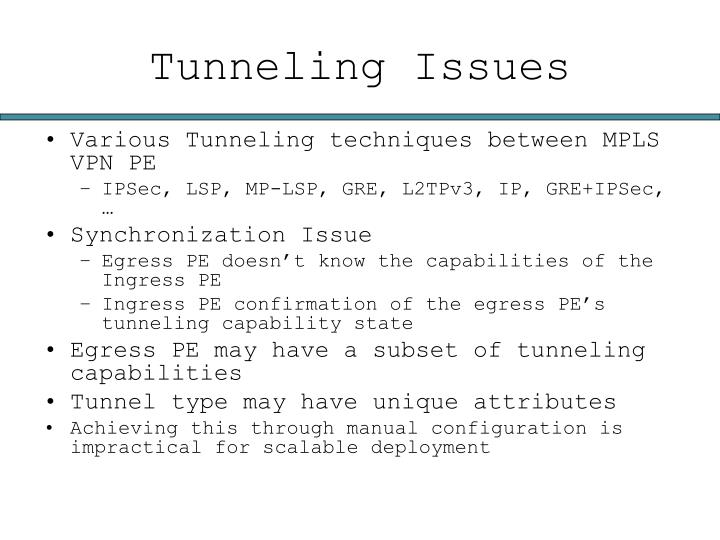 Tunneling Issues